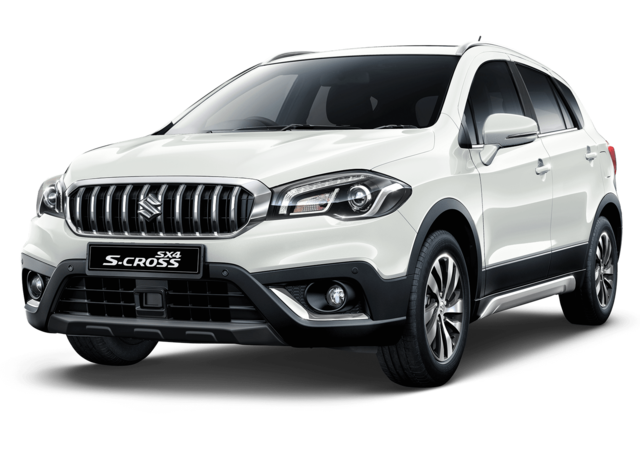 Studio shot of Suzuki SX4 S-Cross SZ5 AllGrip Hybrid in Superior White