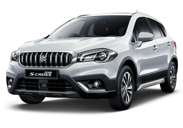 Studio shot of Suzuki SX4 S-Cross SZ5 AllGrip Hybrid in Silky Silver Metallic