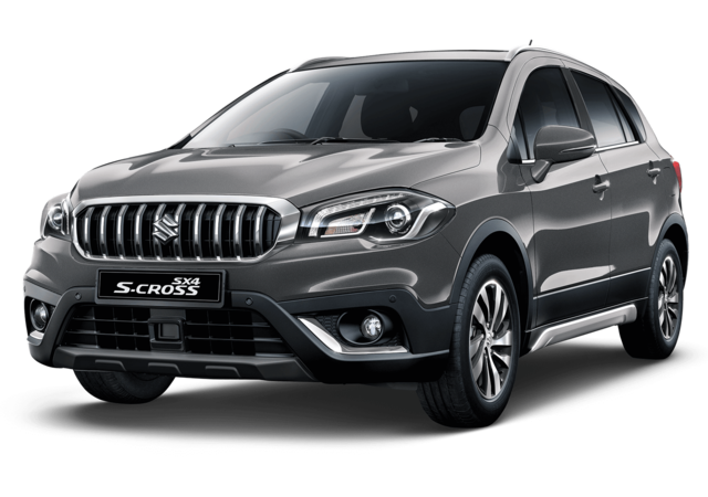 Studio shot of Suzuki SX4 S-Cross SZ5 AllGrip Hybrid in Mineral Grey Metallic