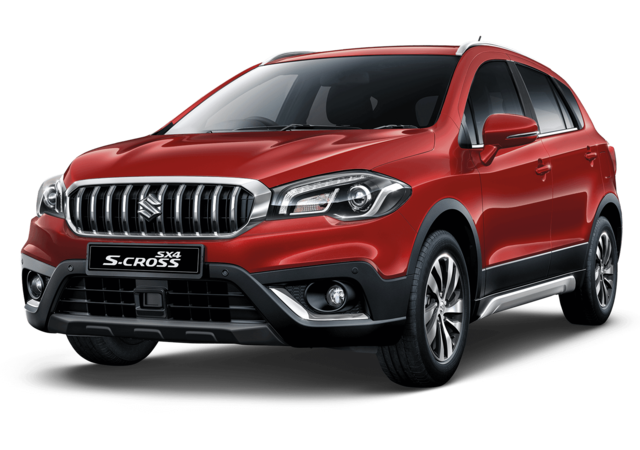 Studio shot of Suzuki SX4 S-Cross SZ5 AllGrip Hybrid in Energetic Red Metallic