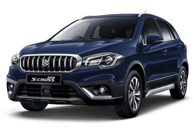 Studio shot of Suzuki SX4 S-Cross SZ5 AllGrip Hybrid in Sphere Blue Metallic
