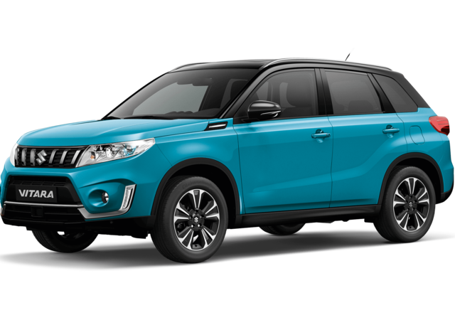 Front and side three quarter studio view of Suzuki Vitara SZ5 in Dual Tone Atlantis Turquoiise with Black Roof
