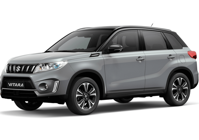 Front and side three quarter studio view of Suzuki Vitara SZ5 in Dual Tone Galactic Grey with Black Roof