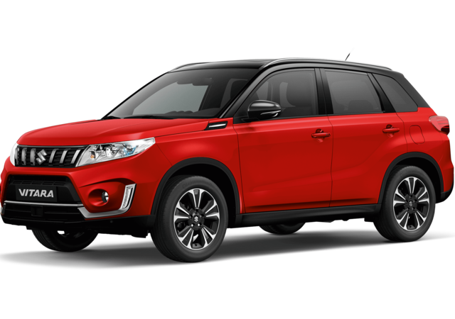 Front and side three quarter studio view of Suzuki Vitara SZ5 in Dual Tone Bright Red with Black Roof
