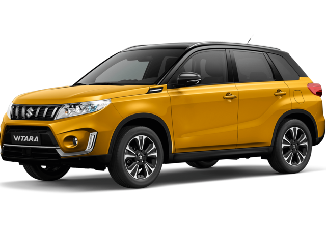 Front and side three quarter studio view of Suzuki Vitara SZ5 in Dual Tone Solar Yellow with Black Roof