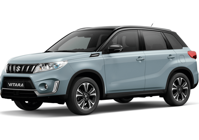 Front and side three quarter studio view of Suzuki Vitara SZ5 in Dual Tone Ice Greyish Blue with Black Roof