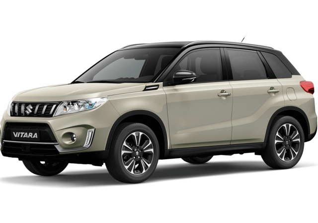 Front and side three quarter studio view of Suzuki Vitara SZ5 in Dual Tone Savannah Ivory with Black Roof