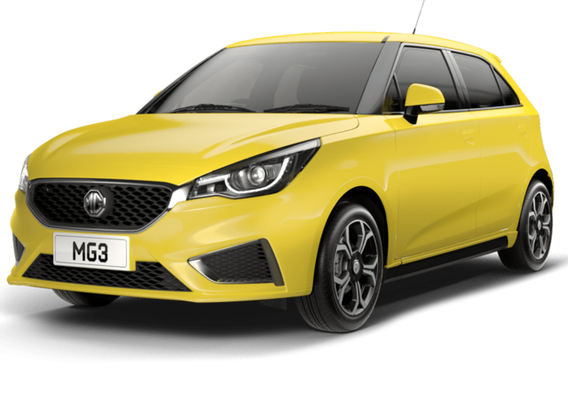 Front and side studio shot of MG3 Exclusive in Hello Yellow