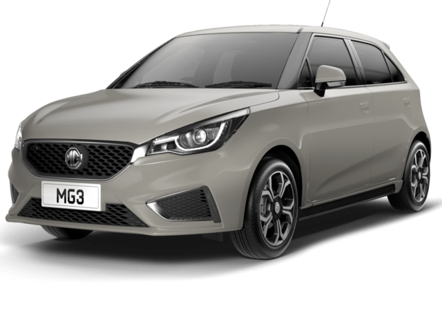 Front and side studio shot of MG3 Exclusive in Aspen Silver Metallic