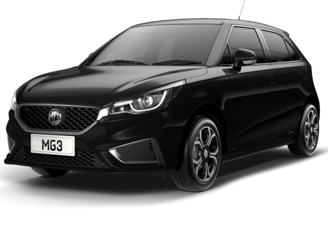 Front and side studio shot of MG3 Exclusive in Black Pearl Metallic