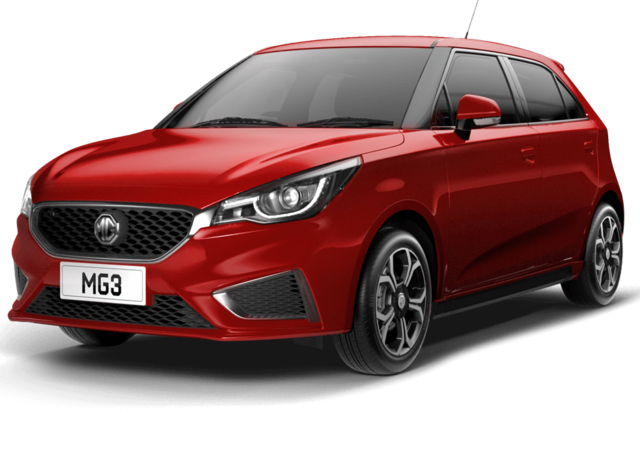 Front and side studio shot of MG3 Exclusive in Ruby Red Metallic
