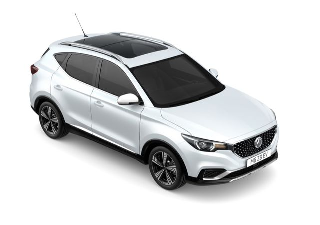Aerial view showing roof, side and front of MG ZS EV in Arctic White