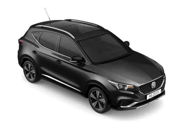 Aerial view showing roof, side and front of MG ZS EV in Black Pearl Metallic