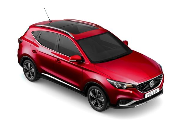 Aerial view showing roof, side and front of MG ZS EV in Dynamic Red Tri Coat Paint