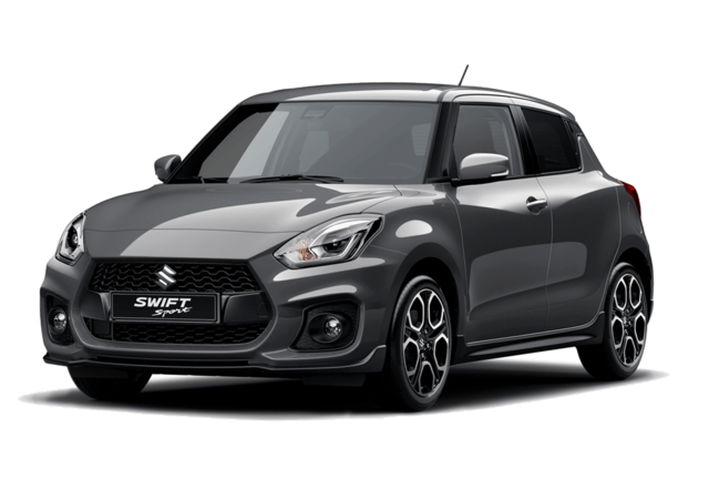 Studio front and side view of Suzuki Swift Sport Hybrid in Mineral Grey Metallic