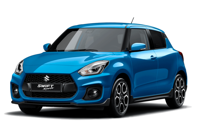 Studio front and side view of Suzuki Swift Sport Hybrid in Speedy Blue Metallic