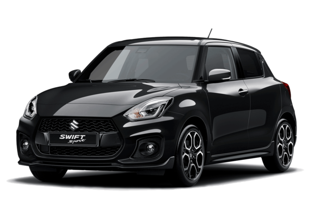 Studio front and side view of Suzuki Swift Sport Hybrid in Super Black Metallic