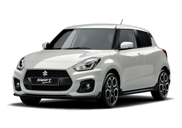 Studio front and side view of Suzuki Swift Sport Hybrid in Pure White Metallic