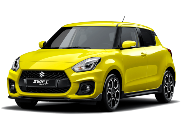 Studio front and side view of Suzuki Swift Sport Hybrid in Champion Yellow Metallic