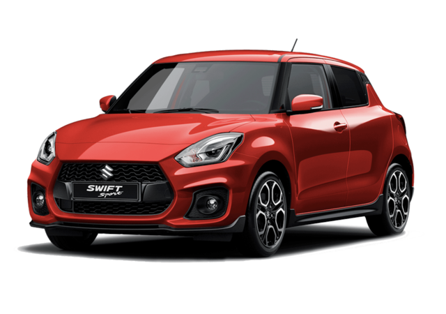 Studio front and side view of Suzuki Swift Sport Hybrid in Burning Red
