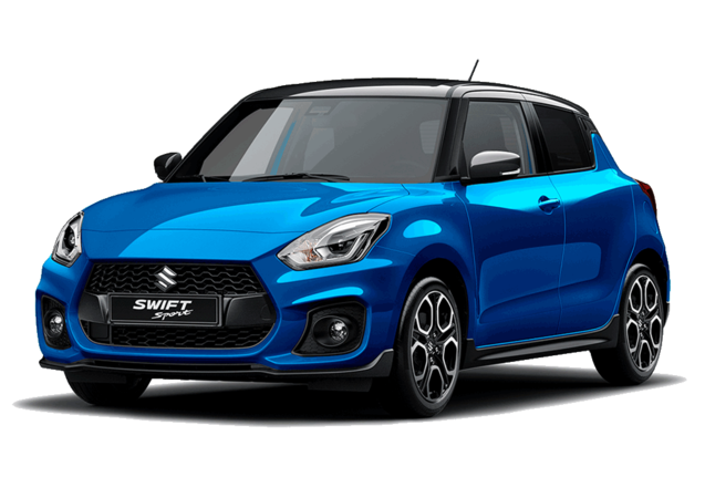 Studio front and side view of Suzuki Swift Sport Hybrid in Speedy Blue with Black Roof