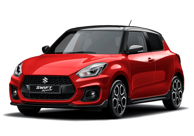 Studio front and side view of Suzuki Swift Sport Hybrid in Burning Red with Black Roof