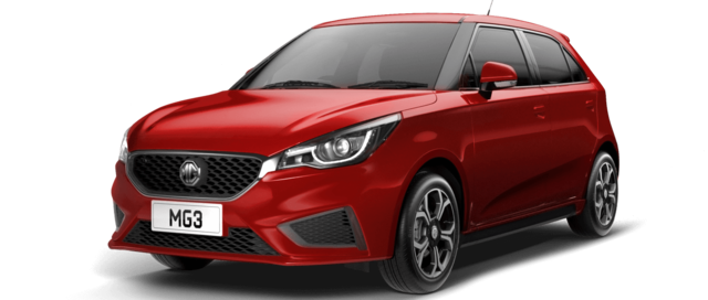 Front and Side view of  MG3 1.5L Excite in Ruby Red Metallic