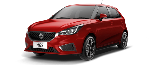 Front and side studio shot of MG3 Exclusive Nav in Ruby Red Metallic