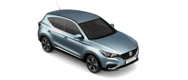 Aerial view of roof side and front of MG ZS EV Excite Auto in Pimlico Blue Metallic