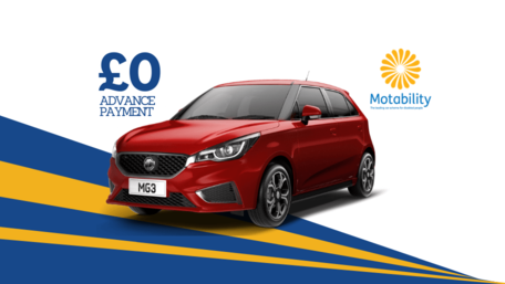 £0 Advance Payment and Motability Symbol - front and side view of MG3 in Ruby Red Metallic
