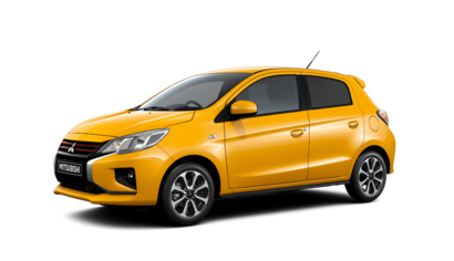 2020 Mitsubishi Mirage front 3/4 in Sand Yellow
