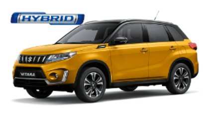 Front and side three quarter view of Suzuki Vitara SZ5 in Solar Yellow with Black Roof