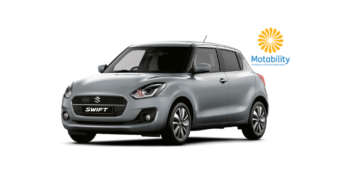 Front and side view of Suzuki Swift Hybrid in Premium Silver  Metallic with Motability logo