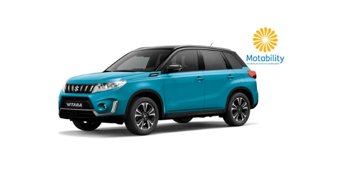 Front and Side view of Suzuki Vitara in Atlantis Turquoise with Motability logo