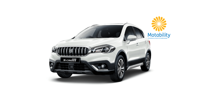 Front and Side view of Suzuki SX4 S-Cross in Superior white with Motability logo