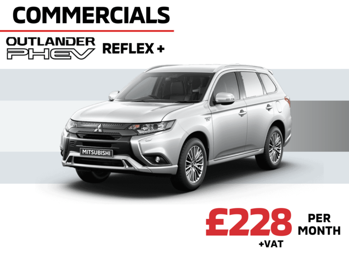 Front and side view of Mitsubishi Outlander PHeV Reflex Plus Commercial Auto in Sterling Silver Metallic £228 + VAT per month