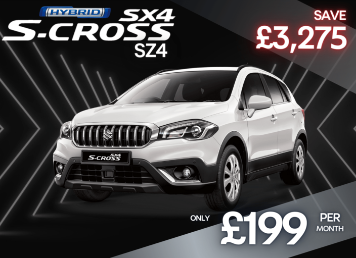 Front and side view of Suzuki SX4 S-Cross 1.4 Hybrid SZ4  in superior white 0% Finance