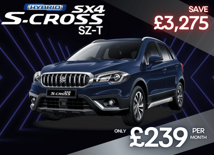 Front and side view of Suzuki SX4 S-Cross 1.4 Hybrid SZ-T  in superior white 0% Finance