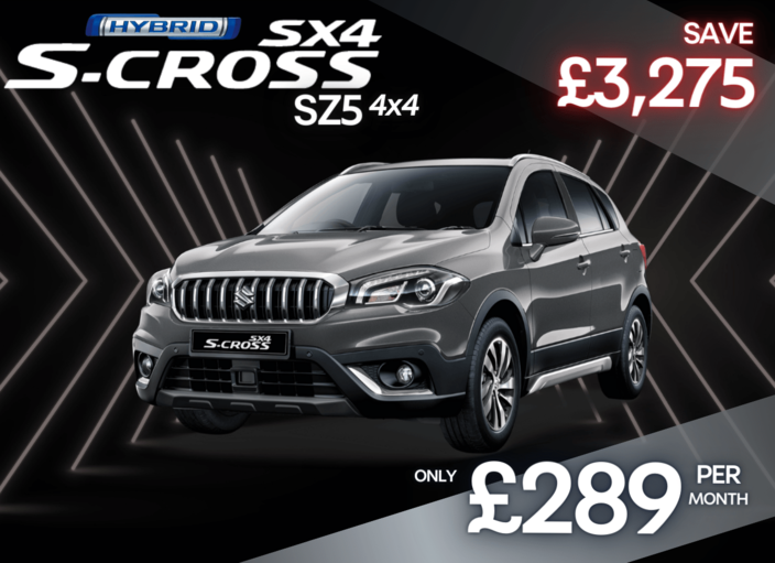 Front and side view of Suzuki SX4 S-Cross 1.4 Hybrid SZ5 Allgrip in Cosmic Black 0% Finance
