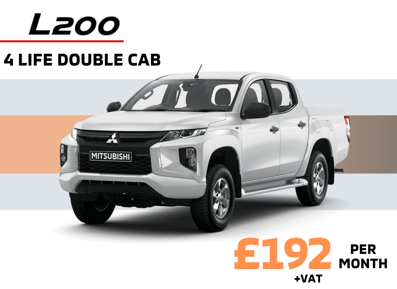 Front and side view of Mitsubishi L200 4 Life Double Cab in White Diamond £192 + VAT per month