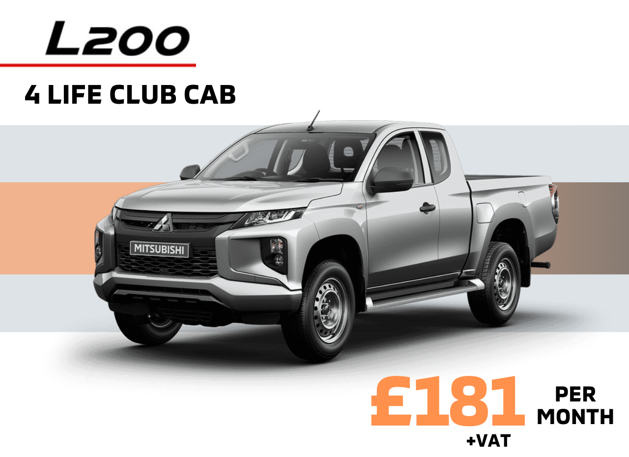 Front and side view of Mitsubishi L200 4 Life Club Cab in Sterling Silver Metallic £181 + VAT per month